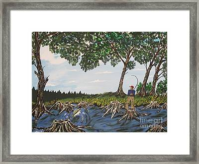 Bass Fishing In The Stumps Framed Print by Jeffrey Koss