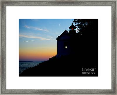 Bass Harbor Lighthouse At Sunset Framed Print by Diane Diederich