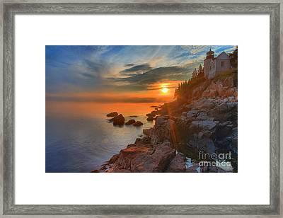 Bass Harbor Sunset Framed Print by Adam Jewell