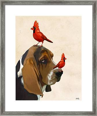 Basset Hound And Red Birds Framed Print by Kelly McLaughlan
