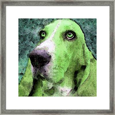 Basset Hound - Pop Art Green Framed Print by Sharon Cummings