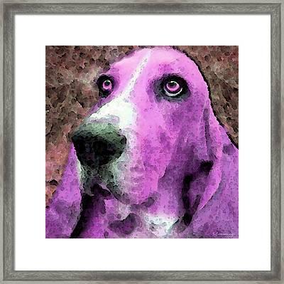 Basset Hound - Pop Art Pink Framed Print by Sharon Cummings