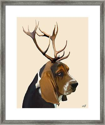 Basset Hound With Antlers Framed Print by Kelly McLaughlan