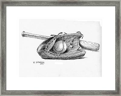 Bat Ball And Glove Framed Print by Al Intindola