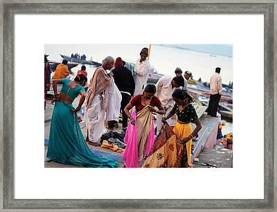 Bath At Ghat Framed Print by Money Sharma