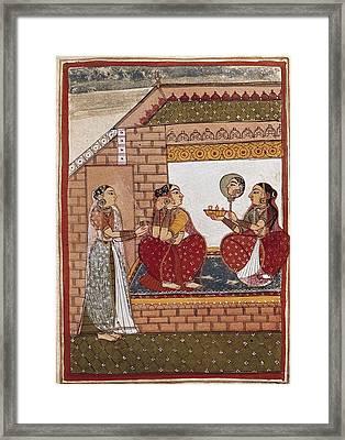 Bath Of An Indian Princess Framed Print by Everett