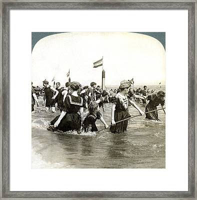 Bathers At Coney Island Framed Print by Underwood Archives