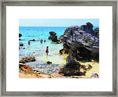 Bathing In The Ocean St. George Bermuda Framed Print by Susan Savad