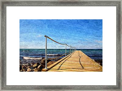 Bathing Jetty To The Ocean Framed Print by Niels Quist