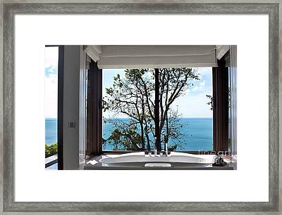 Bathroom With A View Framed Print by Kaye Menner
