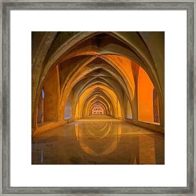 Baths At Alcazar Seville Framed Print by Joan Carroll