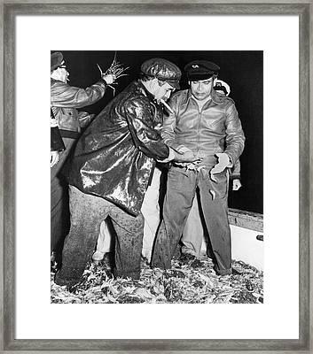 Batista Visits Shrimp Boat Framed Print by Underwood Archives