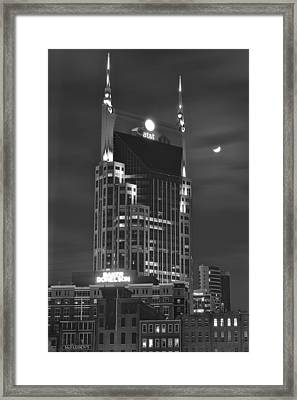Batman Building Complete With Bat Signal Framed Print by Frozen in Time Fine Art Photography