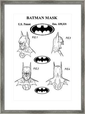 Batman Face Guard Framed Print by Dan Sproul