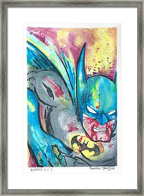 Batman In Combat Framed Print by Nick Smithey