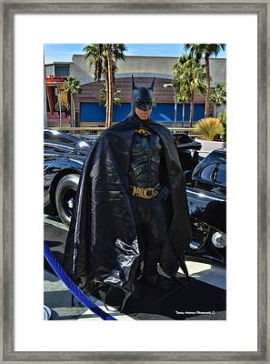 Batmobile And Batman Framed Print by Tommy Anderson