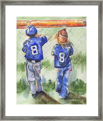 Batter Up Framed Print by Maria's Watercolor