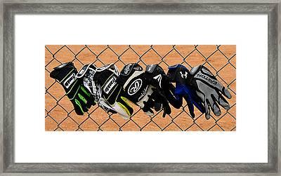 Batting Gloves Framed Print by Ron Regalado