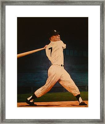 Batting Practice - Mickey Mantle Framed Print by Rick Fitzsimons
