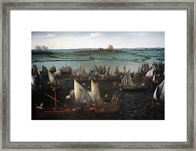 Battle Between Dutch And Spanish Ships On The Haarlemmermeer, 1629, By Hendrik Cornelisz Vroom Framed Print by Bridgeman Images
