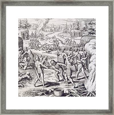Battle Between Tuppin Tribes Framed Print by Theodore De Bry