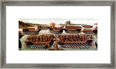 Battle Of Actium, 31 Bc Framed Print by Photo Researchers