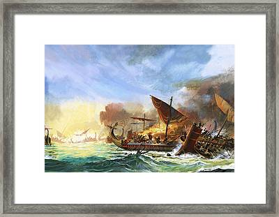 Battle Of Salamis Framed Print by Andrew Howat