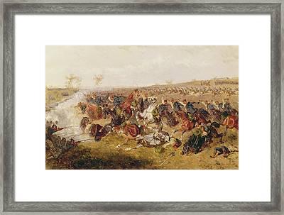 Battle Of Schweinschaedel, 29th July 1866 Oil On Canvas Framed Print by Alexander Ritter von Bensa