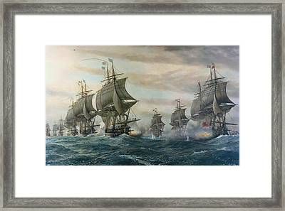 Battle Of Virginia Capes Framed Print by Celestial Images