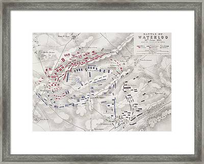 Battle Of Waterloo Framed Print by Alexander Keith Johnston