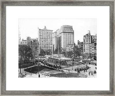 Battleship In Union Square Framed Print by Underwood Archives
