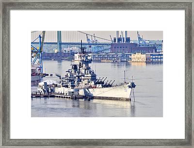 Battleship New Jersey And The Walt Whitman Bridge Framed Print by Bill Cannon