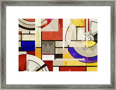 Bauhaus Rectangle Three Framed Print by Big Fat Arts