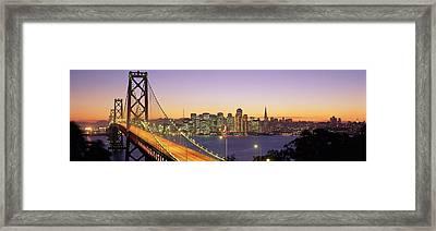 Bay Bridge At Night, San Francisco Framed Print by Panoramic Images