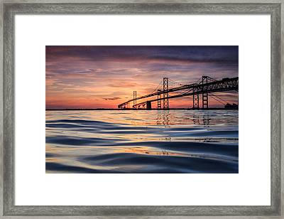 Bay Bridge Silk Framed Print by Jennifer Casey