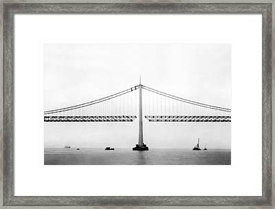 Bay Bridge Under Construction Framed Print by Underwood Archives