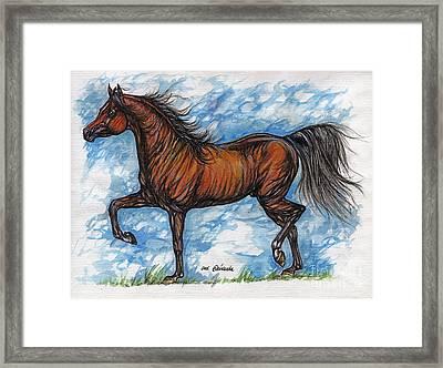 Bay Horse Running Framed Print by Angel  Tarantella