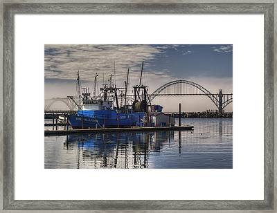 Bay Island Docked - Newport Oregon Framed Print by Mark Kiver