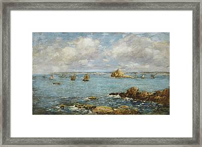 Bay Of Douarnenez Framed Print by Eugene Louis Boudin