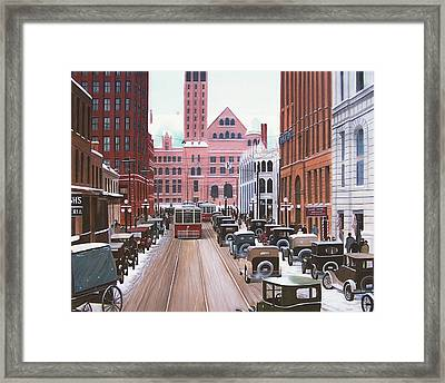 Bay Street Christmas Eve 1924 Framed Print by Kenneth M  Kirsch