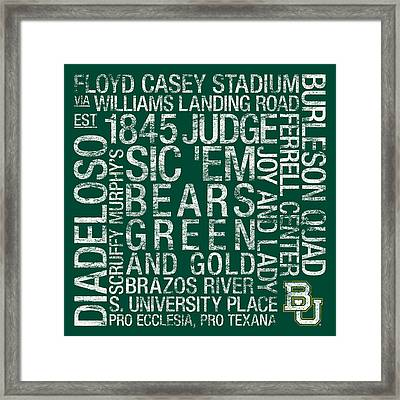 Baylor College Colors Subway Art Framed Print by Replay Photos