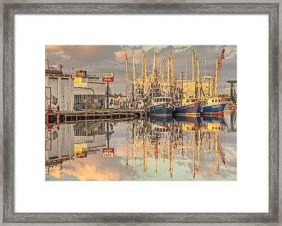 Bayou La Batre' Al Shrimp Boat Reflections 39 Framed Print by Jay Blackburn