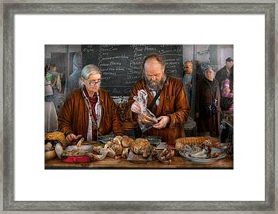 Bazaar - We Sell Fresh Mushrooms Framed Print by Mike Savad