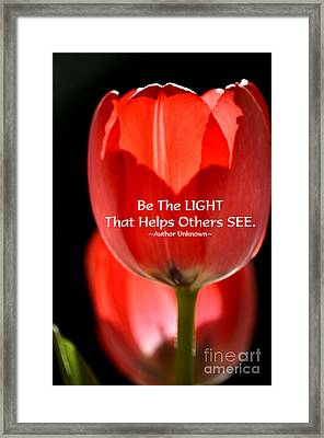 Be The Light Framed Print by Deb Halloran