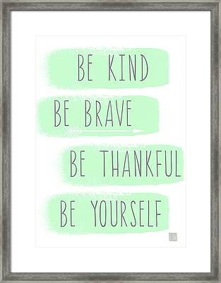 Be Yourself- Mint And White Inspirational Art Framed Print by Linda Woods