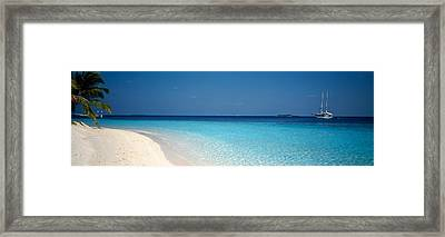 Beach & Boat Scene The Maldives Framed Print by Panoramic Images