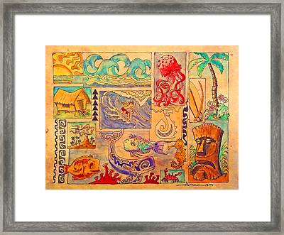 Beach And Surf Collage Framed Print by Aaron Bodtcher