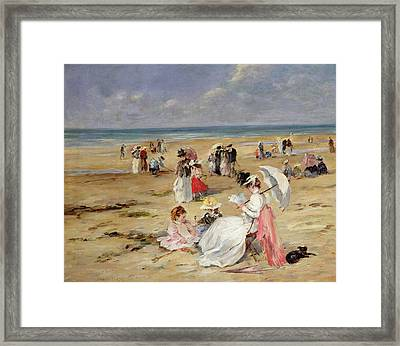 Beach At Courseulles Framed Print by Henri Michel-Levy