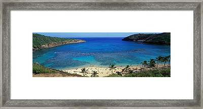 Beach At Hanauma Bay Oahu Hawaii Usa Framed Print by Panoramic Images
