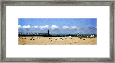 Beach At South Haven  Framed Print by Michelle Calkins